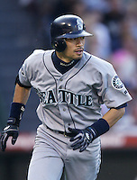 Ichiro Suzuki of the Seattle Mariners runs the bases during a 2002 MLB season game against the Los Angeles Angels at Angel Stadium, in Los Angeles, California. (Larry Goren/Four Seam Images)