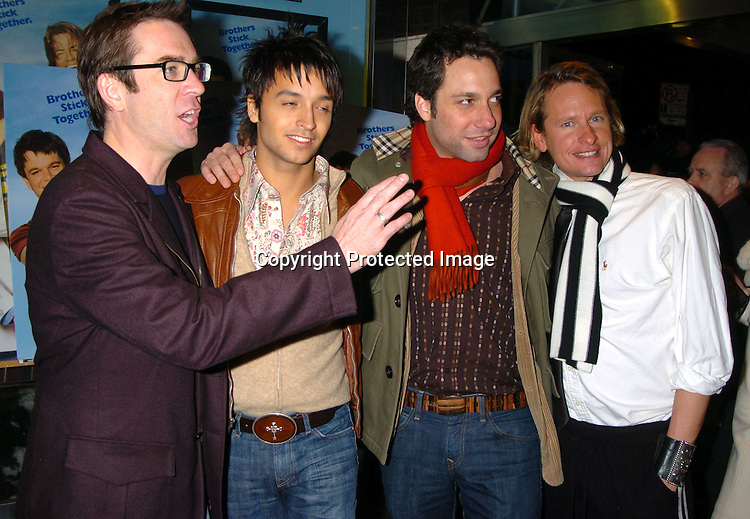 """Ted Allen, Jai Rodriguez, Thom Filicia and Carson Kressley..at a Special Screening of """"Stuck On You"""" on December 8, 2003 at the Chelsea West Theatre. Photo by Robin Platzer, Twin Images"""