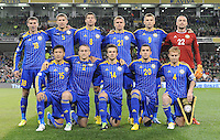 15th October 2013; Kazakhstan team before kick off. Back row (l-r): Dmitriy Shomko, Alexander Kislitsyn, Viktor Dmitrenko, Valeriy Korobkin, Alexey Chshyotkin, Andrey Sidelinkov. Front row (l-r) Alexander Kislitsyn, Mark Gurman, Constantine Engel, Sergei Khizhnitchenko, Andrey Karpovitch. World Cup Qualifier Group C, Republic of Ireland v Kazakhstan, Aviva Stadium, Dublin. Picture credit: Tommy Grealy/actionshots.ie.
