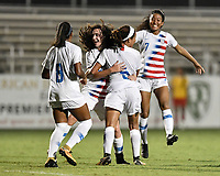 Lakewood Ranch, FL - Wednesday, October 10, 2018:   Sophia Jones, Mia Fishel, goal celebration during a U-17 USWNT match against Colombia.  The U-17 USWNT defeated Colombia 4-1.