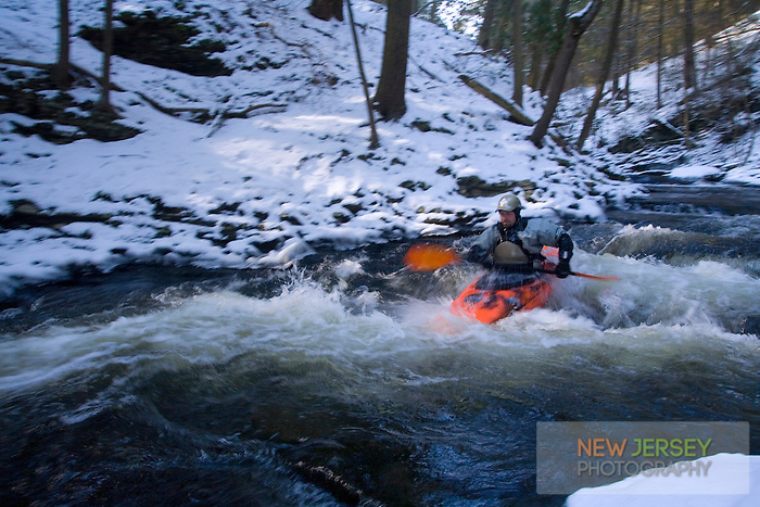 Kayaker, on the Flatbrook River, Delaware Water Gap, New Jersey