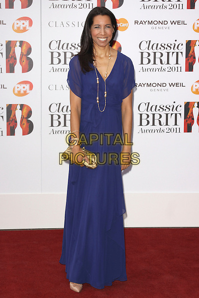 MARGHERITA TAYLOR .Arriving to the Classical Brit Awards 2011 at the Royal Albert Hall, London, England, UK, 12th May 2011..arrivals brits full length blue dress smiling gold necklace  bracelet clutch bag long maxi .CAP/AH.©Adam Houghton/Capital Pictures.