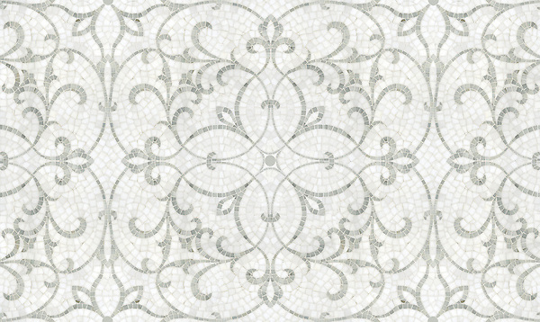 Marabel, a natural stone hand cut mosaic shown in honed Thassos and polished Afyon White, is part of the Silk Road collection by Sara Baldwin for New Ravenna. <br /> <br /> Take the next step: prices, samples and design help, http://www.newravenna.com/showrooms/