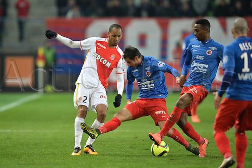 04.03.2016. Caen, France. French League 1 football. Caen versus Monaco.  Jordan NKOLOLO (caen) and NICOLAS SEUBE (caen) nutmegged by FABINHO (mon)
