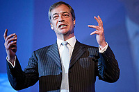 Pictured: Nigel Farage speaks to party supporters. Tuesday 30 April 2019<br /> Re: Nigel Farage and Anne Widdecombe at the Brexit Party rally at The Neon in Clarence Place in Newport, south Wales, UK.