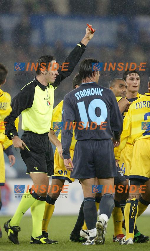 Roma 21/12/2003 Campionato italiano Serie A<br /> Lazio Inter 2-1 <br /> L'arbitro Trefoloni espelle Matyas Almeyda (Inter)<br /> Photo Andrea Staccioli Insidefoto
