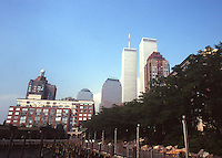 The twin towera of the World Trade Center rise above the scenery in New York City, 1999.  (Photo by Brian Cleary/www.bcpix.com)