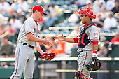 April 11, 2010:  Pitcher Drew Storen (21) and Catcher Jhonathan Solano of the Harrisburg Senators after a game at Blair County Ballpark in Altoona, PA.  Harrisburg is the Double-A affiliate of the Washington Nationals.  Photo By Mike Janes/Four Seam Images