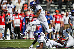 TCU Horned Frogs safety Niko Small (2) in action during the game between the SMU Mustangs and the TCU Horned Frogs at the Amon G. Carter Stadium in Fort Worth, Texas.