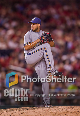 22 August 2015: Milwaukee Brewers pitcher Cesar Jimenez on the mound against the Washington Nationals at Nationals Park in Washington, DC. The Nationals defeated the Brewers 6-1 in the second game of their 3-game weekend series. Mandatory Credit: Ed Wolfstein Photo *** RAW (NEF) Image File Available ***