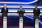 1st December 2017, State Kremlin Palace, Moscow, Russia;  Argentinian legend Diego Maradona (C) displays Croatia during the Final Draw of the FIFA World Cup at the Kremlin Palace in Moscow, capital of Russia, Dec. 1, 2017.