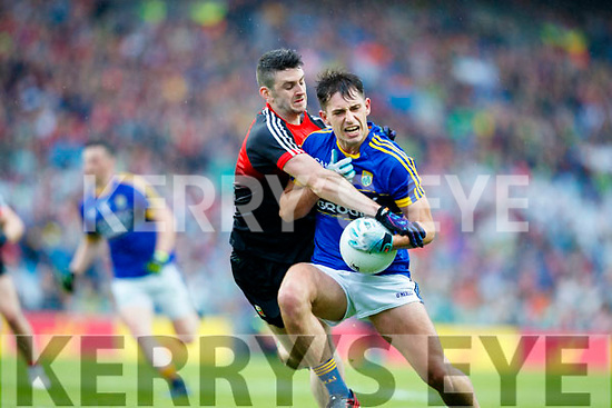 Jack Savage Kerry in action against Brendan Harrison Mayo in the All Ireland Semi Final in Croke Park on Sunday.
