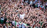 Stockholm 2014-06-08 Fotboll Superettan Hammarby IF - Landskrona BoIS  :  <br /> Hammarbys supportrar<br /> (Foto: Kenta J&ouml;nsson) Nyckelord:  Superettan Tele2 Arena Hammarby HIF Bajen Landskrona BoIS supporter fans publik supporters glad gl&auml;dje lycka leende ler le