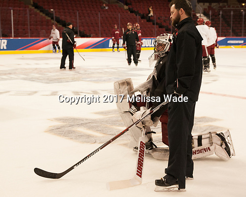 Merrick Madsen (Harvard - 31), Brian Robinson (Harvard - Volunteer Assistant) - The Harvard University Crimson practiced at the United Center on Wednesday, April 5, 2017, in Chicago, Illinois.