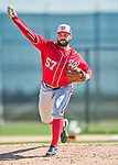 25 February 2016: Washington Nationals pitcher Tanner Roark throws during the first full squad Spring Training workout at Space Coast Stadium in Viera, Florida. Mandatory Credit: Ed Wolfstein Photo *** RAW (NEF) Image File Available ***