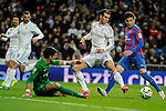 Real Madrid´s Gareth Bale and Levante UD´s goalkeeper Diego Marino Villar during 2014-15 La Liga match between Real Madrid and Levante UD at Santiago Bernabeu stadium in Madrid, Spain. March 15, 2015. (ALTERPHOTOS/Luis Fernandez)