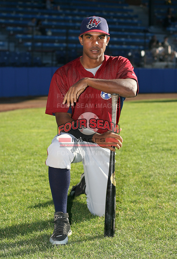 Maiko Loyola of the Hudson Valley Renegades, Class-A affiliate of the Tampa Bay Devil Rays, during New York-Penn League baseball action.  Photo by Mike Janes/Four Seam Images