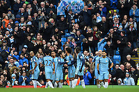 Manchester City's Gabriel Jesus celebrates scoring the second goal during the Premier League match between Manchester City and Swansea City at the Etihad Stadium, Manchester, England. Sunday 05 February 2017