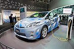 Toyota Motor Corp.'s Prius Plug-In Hybrid car is displayed during a pre-opening day for the media two days before the start of the 41st Tokyo Motor Show 2009 at Makuhari Messe in Chiba, Japan on Wed., Oct. 21 2009..Photographer: Robert Gilhooly
