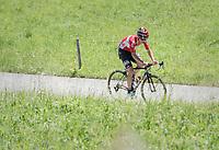 solo race leader Tony Gallopin (FRA/Lotto-Soudal)<br /> <br /> 69th Crit&eacute;rium du Dauphin&eacute; 2017<br /> Stage 8: Albertville &gt; Plateau de Solaison (115km)
