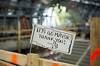 A sign thanking Mayor Bloomberg seen at the new 34th Street-Hudson Yards terminal station on the 7 Subway line extension in New York on Friday, December 20, 2013. The new tunnel from Times Square, which will open in the Fall of 2014, terminates 108 feet below street level at West 34th Street and Eleventh Avenue rat the doorstep of the rezoned 45 block Hudson Yards development. (© Frances M. Roberts)