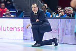Movistar Estudiantes coach Salva Maldonado during Liga Endesa match between Movistar Estudiantes and Unicaja Malaga at Wizink Center in Madrid , Spain. March 04, 2018. (ALTERPHOTOS/Borja B.Hojas)