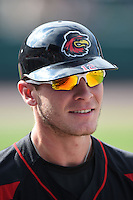 Rochester Red Wings outfielder Chris Herrmann (12) during the first game of a doubleheader against the Buffalo Bisons on July 6, 2014 at Frontier Field in Rochester, New  York.  Rochester defeated Buffalo 6-1.  (Mike Janes/Four Seam Images)
