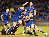 8th September 2017, RDS Arena, Dublin, Ireland; Guinness Pro14 Rugby, Leinster versus Cardiff Blues; Jack Conan of Leinster is tackled by Damian Welch of Cardiff