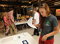 NWA Democrat-Gazette/ANDY SHUPE<br /> Lane Fritch, 17, a home-schooled student from Hiwasse, takes part Thursday, Aug. 10, 2017, in a 4-H food equipment identification contest at the Benton County Fair.