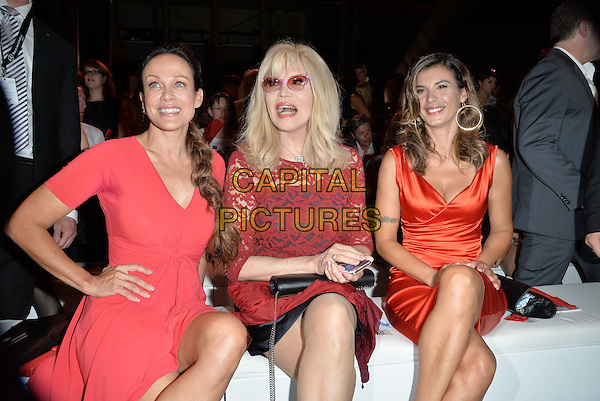 BERLIN, GERMANY - JULY 09: Sonja Kirchberger, Amanda Lear, Elisabetta Canalis attends the Minx by Eva Lutz show during the Mercedes-Benz Fashion Week Spring/Summer 2015 at Erika Hess Eisstadion on July 9, 2014 in Berlin, Germany. <br /> CAP/AAP/PAN<br /> &copy;Panckow/AAP/Capital Pictures
