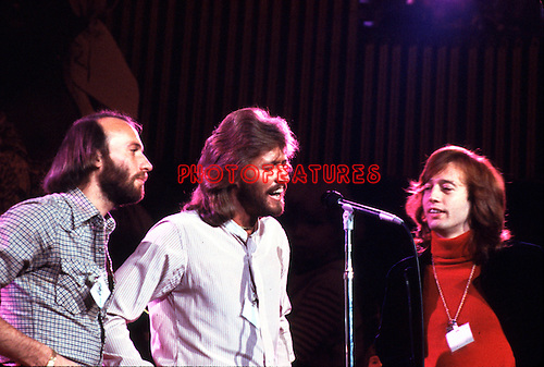 Bee Gees 1979 Maurice Gibb, Barry Gibb, Robin Gibb at Unicef Concert at the UN..© Chris Walter..