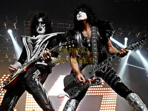 Mega-hit rockers KISS took the stage before a sold-out crowd at Nashville's Bridgestone Arena, where they performed their elaborate stage show for fans, including many of today's top country and rock stars who live in the Nashville area, TN., USA..September 4th, 2012.stage concert live gig performance performing music full length black silver make-up guitar  .CAP/ADM/DH.©Dan Harr/AdMedia/Capital Pictures.