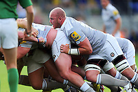 Matt Garvey of Bath Rugby in action at a scrum. Pre-season friendly match, between Leinster Rugby and Bath Rugby on August 26, 2016 at Donnybrook Stadium in Dublin, Republic of Ireland. Photo by: Patrick Khachfe / Onside Images