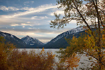 Oregon, Northeast, Baker City, Wallowa Whitman National Forest.Wallowa Lake and the Wallowa Mountains in evening light of autumn.
