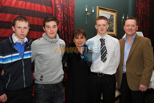 Matthew Moore, Stuart Rooney, Siobhan Moore, Dean Farrelly and Peter Moore at the Dinner Dance in the Westcourt Hotel...(Photo credit should read Jenny Matthews www.newsfile.ie)....This Picture has been sent you under the conditions enclosed by:.Newsfile Ltd..The Studio,.Millmount Abbey,.Drogheda,.Co Meath..Ireland..Tel: +353(0)41-9871240.Fax: +353(0)41-9871260.GSM: +353(0)86-2500958.email: pictures@newsfile.ie.www.newsfile.ie.