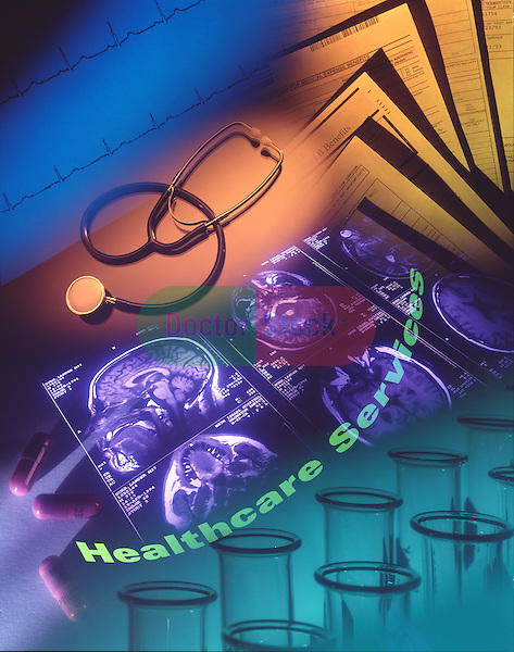 photo illustration, composite of various icons of healthcare services