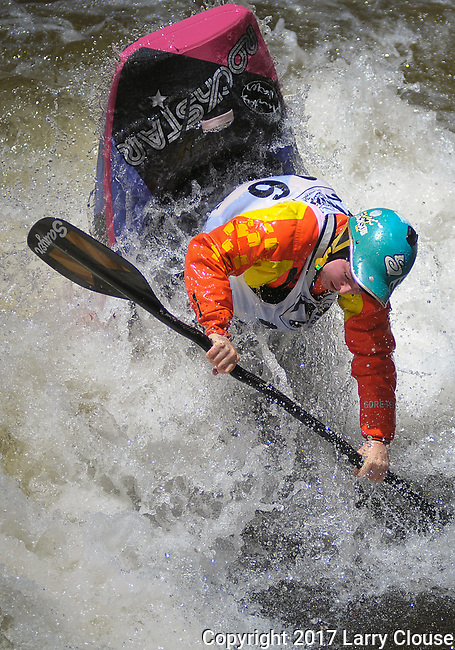June 9, 2017 - Vail, Colorado, U.S. - New Zealand's, Courtney Kerin, goes vertical in the Freestyle Kayak competition during the GoPro Mountain Games, Vail, Colorado.  Adventure athletes from around the world meet in Vail, Colorado, June 8-11, for America's largest celebration of mountain sports, music, and lifestyle.