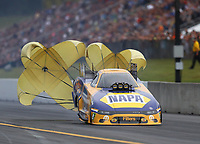 Sep 14, 2019; Mohnton, PA, USA; NHRA funny car driver Ron Capps during qualifying for the Reading Nationals at Maple Grove Raceway. Mandatory Credit: Mark J. Rebilas-USA TODAY Sports