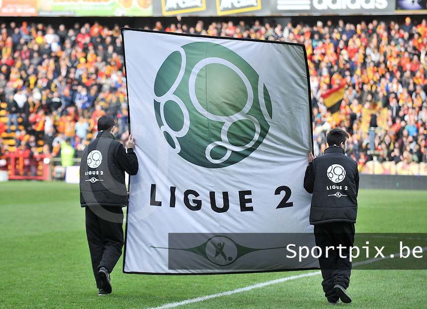 20140201 - LENS , FRANCE : Ligue 2 Banner pictured during the soccer match between Racing Club de LENS and Stade Lavallois , on the twenty second matchday in the French Ligue 2 at the Stade Bollaert Delelis stadium , Lens . Saturday 1st February 2014. PHOTO DAVID CATRY