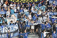 BOGOTA - COLOMBIA, 29-11-2017: Hinchas de Millonarios animan a su equipo durante el encuentro entre Millonarios y La Equidad por los cuartos de final vuelta de la Liga Aguila II 2017 jugado en el estadio Nemesio Camacho El Campin de la ciudad de Bogota. / Fans of Millonarios cheer for their team during second leg match between Millonarios and La Equidad for the quarterfinals of the Liga Aguila II 2017 played at the Nemesio Camacho El Campin Stadium in Bogota city. Photo: VizzorImage / Gabriel Aponte / Staff.
