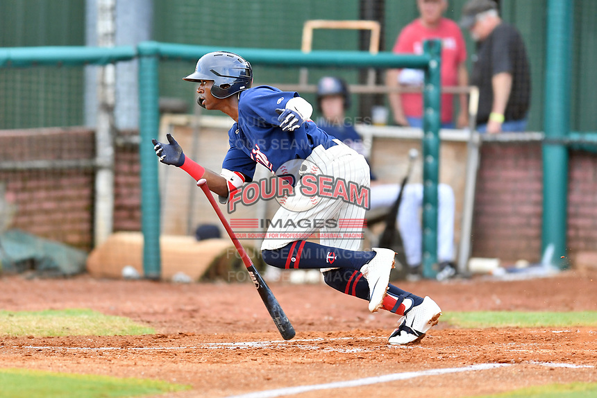 Elizabethton Twins Willie Joe Garry Jr. (23) runs to first base during a game against the Kingsport Mets at Joe O'Brien Field on July 6, 2019 in Elizabethton, Tennessee. The Twins defeated the Mets 5-3. (Tony Farlow/Four Seam Images)