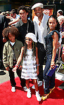 US actor Will Smith poses with wife Jada Pinkett Smith, son Jaden (far left), daughter Willow and son Willard (to his left) at the world premiere of 'Kit Kittredge: An American Girl' at the Grove in Los Angeles, California on 14 June 2008. The film is based on the American Girl doll line and centers on Kit Kittredge, a young woman who grows up in the early years of the Great Depression.