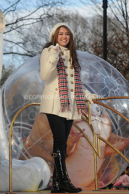 WWW.ACEPIXS.COM . . . . .  ....November 27 2008, New York City....Actress and singer Miley Cyrus was on a float in the Macy's Thanksgiving day parade on November 27 2008, in New York City....Please byline:KRISTIN CALLAHAN- ACE PICTURES.... *** ***..Ace Pictures, Inc:  ..tel: (646) 769 0430..e-mail: info@acepixs.com..web: http://www.acepixs.com