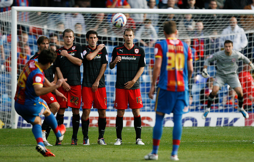 Crystal Palace's Mile Jedinak (L) takes a free kick..Football - npower Football League Championship - Saturday 22nd September 2012 - Crystal Palace v Cardiff City - Selhurst Park - London..?