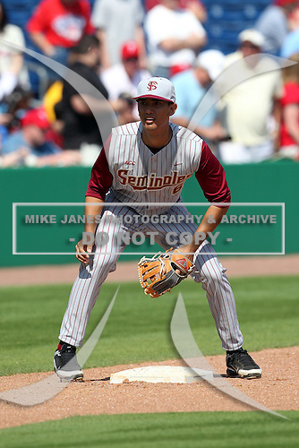 Florida State Seminoles Sean O'Brien #6 during a scrimmage vs the Philadelphia Phillies  at Bright House Field in Clearwater, Florida;  February 24, 2011.  Philadelphia defeated Florida State 8-0.  Photo By Mike Janes/Four Seam Images