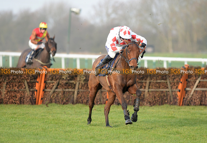 Rule Of Thumb ridden by Tom O'Brien jumps the last and goes on to win the Betfred Fun And Friendly Handicap Hurdle Cl4   at Huntingdon Racecourse, Brampton, Cambridgeshire - 12/12/2013 - MANDATORY CREDIT: Martin Dalton/TGSPHOTO - Self billing applies where appropriate - 0845 094 6026 - contact@tgsphoto.co.uk - NO UNPAID USE
