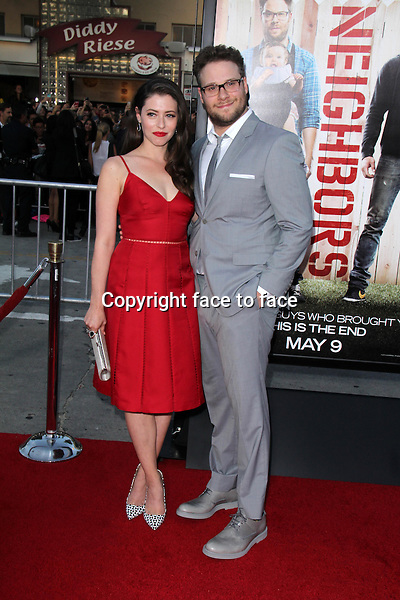 WESTWOOD, CA - April 28: Seth Rogen, Lauren Miller at the &quot;Neighbors&quot; World Premiere, Village Theater, Westwood, April 28, 2014.<br />