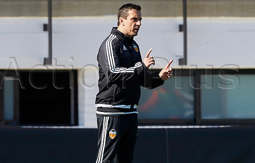 03.24.2016. Valencia CF Sports City, Training session. Valencia CF Head coach Gary Neville gestures during a training session.