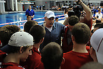 26 MAR 2011: Coach Jim Steen congratulates the Denison Men's Swimming and Diving team during the Division III Menís and Womenís Swimming and Diving Championship held at Allan Jones Aquatic Center in Knoxville, TN. Denison defeated Kenyon 500.5 to 499.5. David Weinhold/NCAA Photos