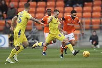 Blackpool's Liam Feeney in action with Bristol Rovers' Ollie Clarke<br /> <br /> Photographer Mick Walker/CameraSport<br /> <br /> The EFL Sky Bet League One - Blackpool v Bristol Rovers - Saturday 3rd November 2018 - Bloomfield Road - Blackpool<br /> <br /> World Copyright &copy; 2018 CameraSport. All rights reserved. 43 Linden Ave. Countesthorpe. Leicester. England. LE8 5PG - Tel: +44 (0) 116 277 4147 - admin@camerasport.com - www.camerasport.com
